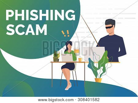 Burglar Holding Fishing Tackle With Hooked Envelope. Phishing Scam Presentation Slide Template. Cybe