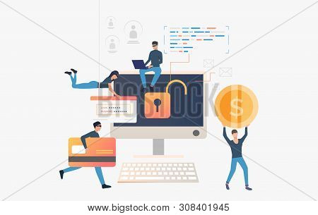 Cyber Thieves Robbing Computer Bank Data. Cartoon Hackers Carrying Credit Card, Password And Money.