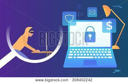 Hacker Working On Computer On Blue Background. Laptop Monitor With Lock On Screen, Fire, Money, Emai