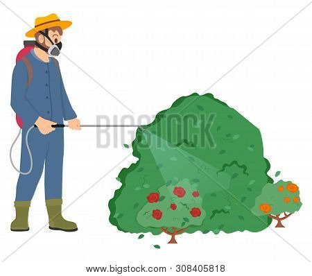 Man Wearing Special Protective Uniform Vector, Male With Respirator And Sprayer, Farmer Spraying Ros