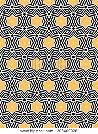 Bold hand drawn star flower quilt. Vector pattern seamless background. Symmetry geometric celtic knot illustration. Trendy retro 1960s style home decor, decorative fashion print, black yellow paper poster