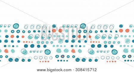 Turquoise Blue Polka Dot Circles. Vector Pattern Seamless Border Background. Hand Drawn Texture Styl