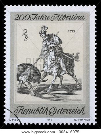 ZAGREB, CROATIA - SEPTEMBER 09, 2014: A stamp issued in the Austria shows Cid Campeador Kills Another Bull by Francisco de Goya, the 200th Anniversary of the Albertina Graphics Collection, circa 1969.