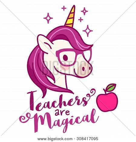 Cute Unicorn Teacher Wearing Eyeglasses, With Text