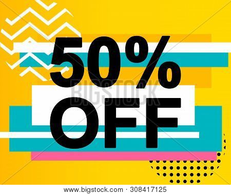 Advertising Banner Or Poster With 50 Percent Off Text