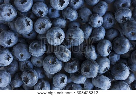Fresh Blueberry Background. Texture Blueberry Berries Close Up. Sprinkle Blueberries. Ripe Blueberri