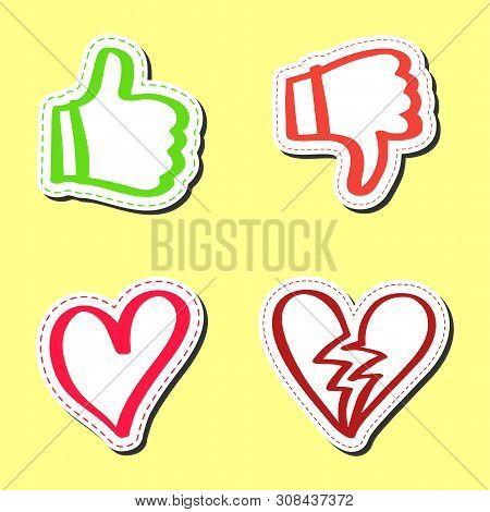 Sticker hand drawn set, like and dislike, heart and broke heart poster