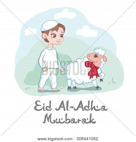Card Or Poster Design For Eid Al-adha Mubarak Festival To Celebrate The Willingness Of Ibrahim To Sa