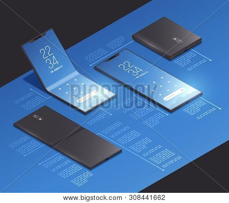 Foldable Gadgets Concepts Isometric Mockup Composition With Realistic Images Of New Smartphone Model
