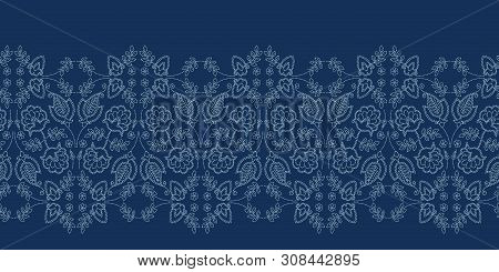 Floral Leaf Paisley Motif Sashiko Style. Japanese Needlework Seamless Border Vector Pattern. Hand St