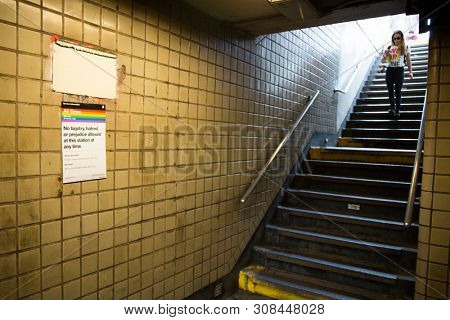 2018 JUNE 24 NEW YORK: A sign posted in NYC Subway that says No Bigotry, Hatred, or Prejudice Allowed At This Station At Any Time on the day of the NYC Pride March.