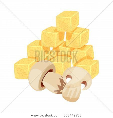 Vector Illustration Of Croutons And Mushroom Sign. Collection Of Croutons And Snack Stock Symbol For