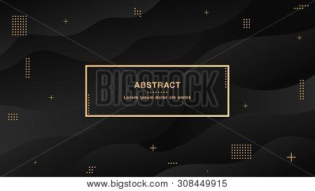 Black Abstract Liquid Background With Simple Shapes With Trendy Gradients Composition.wide Geometric