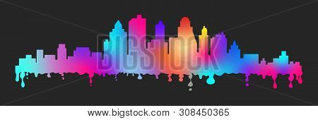 Colorful Vector Cartoon Blots Stylized Cityscape Silhouette. Creative Banners For Design