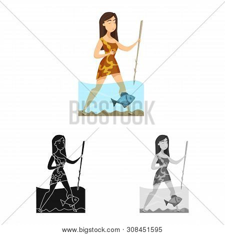 Isolated Object Of Woman And Neanderthal Icon. Collection Of Woman And Fish Stock Vector Illustratio