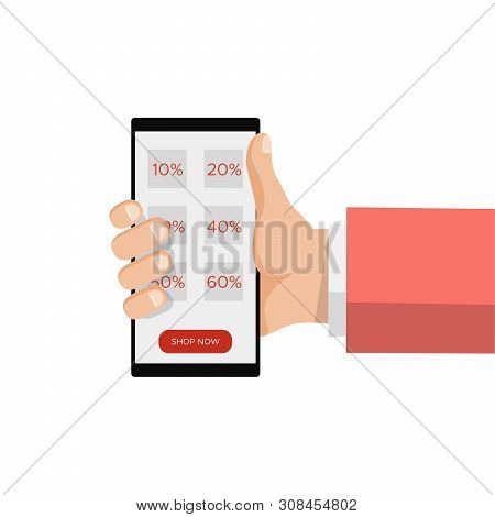 Sale Online Shopping, Hand Holding Smartphone,discount Label Message. E-commerce, E Commerce. Mobile