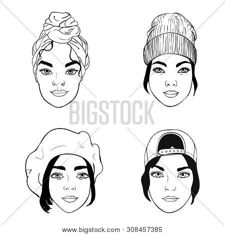 Black And White Portraits Of Girls With Different Headpieces, Fashion Vector Illustration: Tirban, B