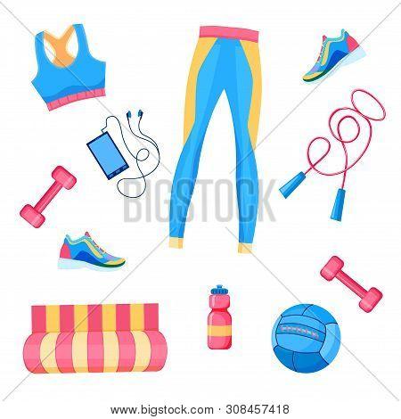 Vector Illustration Of Female Fitness Equipment Flat Lay: Dumbbells, Med Ball, Leggings,  Bra, Rope,