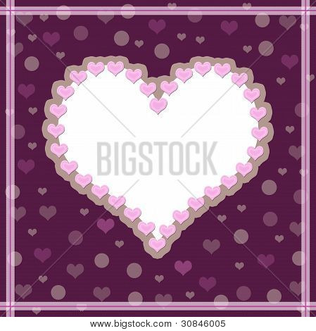 Crimson background with a heart. White