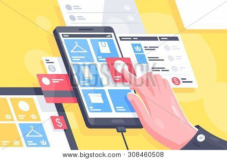 Flat Isolated Hand With Online Mobile Interface Do Shopping. Concept Smart Buying From Cell Phone At