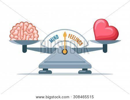 Emotional Balance. Cartoon Heart Emotions And Intelligence Logic Scale Balancing Vector Illustration