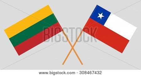 Chile And Lithuania. Chilean And Lithuanian Flags. Official Colors. Correct Proportion. Vector Illus