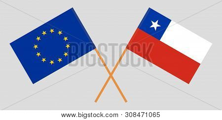 Chile And The European Union. Chilean And Eu Flags. Official Colors. Correct Proportion. Vector Illu