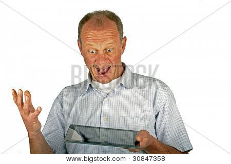 Happy man with his ipad tablet computer