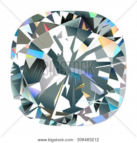 Abstract Polygonal Diamond Backlight Mural Interior Painting Jewelry Isolated Cushion Background, Ve