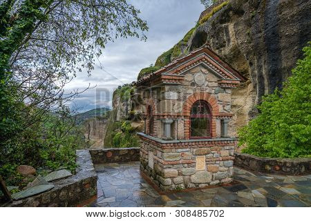 Small Chapel On The Pathway Leading To The Holy Monastery Of Great Meteoron In Meteora, Greece