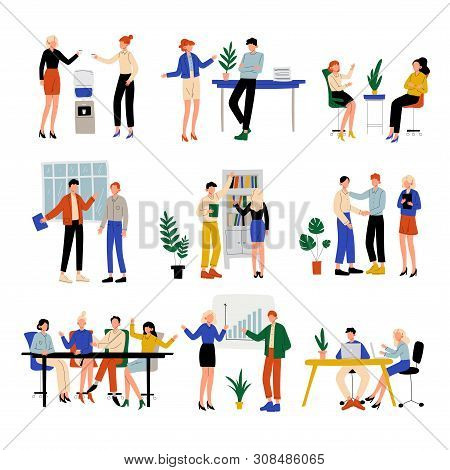 Business People Working In Office Set, Colleagues Working Together, Communication Between Coworkers,