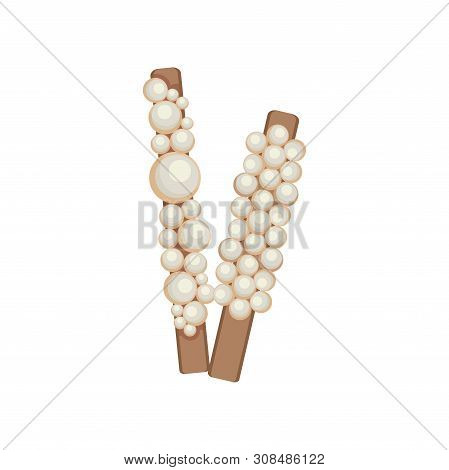 Hairpins With Pearls. Vector Illustration On White Background.