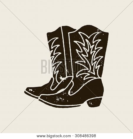 Vector Hand Draw Illustration Of Cowboy Boots In Retro Style. Icon Isolated On White Background. Des