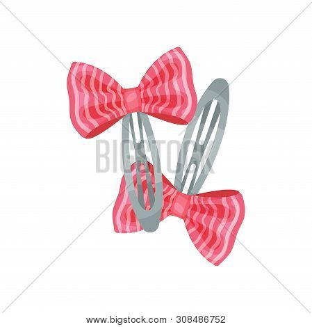 Two Gray Metal Hairpins With Decoration. Vector Illustration On White Background.
