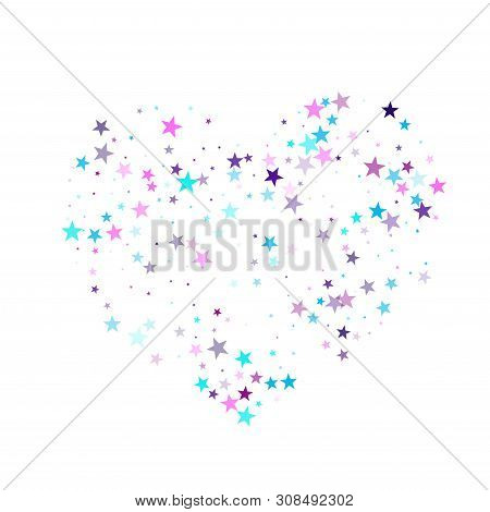 Flying Stars Confetti Holiday Vector In Cyan Blue Violet On White. Fairytale Magic Card Backdrop. Pa