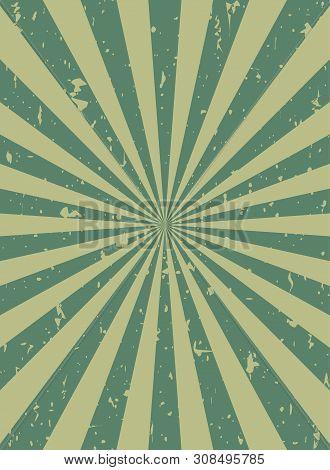 Sunlight Retro Narrow Grunge Background. Green And Beige Color Burst Background.