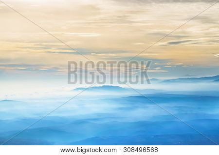 Background Image Of Abstract Shapes. Abstraction Sky And Mountains Background. Blue Background. Desk