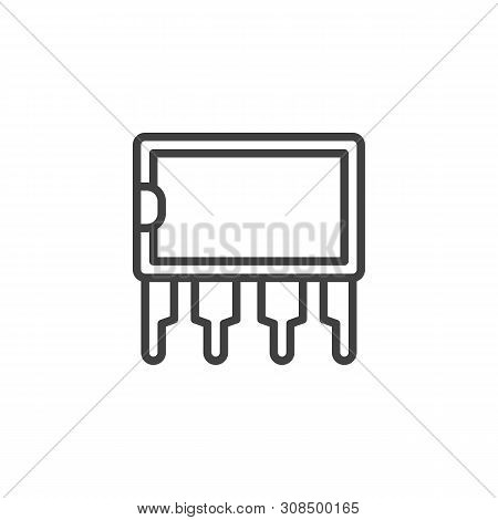 Transistor Microchip Line Icon. Microcircuit Linear Style Sign For Mobile Concept And Web Design. Co