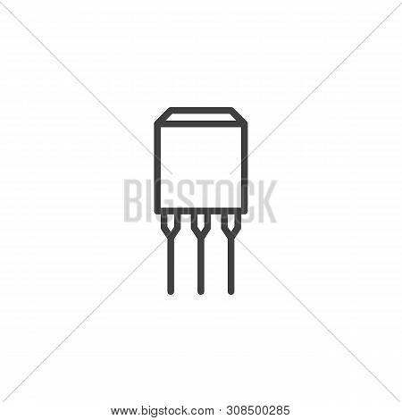 Semiconductor Chip With Three Connections Line Icon. Linear Style Sign For Mobile Concept And Web De