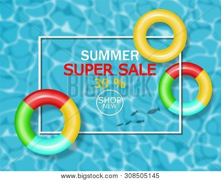 Summer Pool And Lifering Vector Realistic. Commercial Banner Sale Template. 3d Detailed Water Backgr