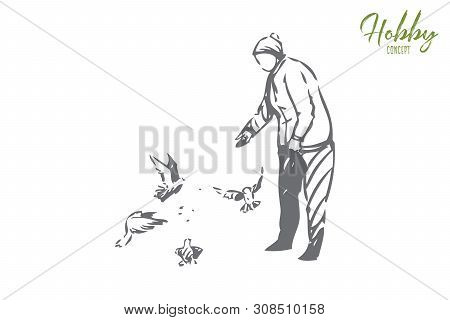 Hobby Concept Sketch. Old Lady Feeding Birds. Walking In Park, Outdoors In Free Time. Throwing Seeds