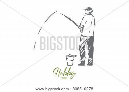 Fishery Concept Sketch. Man Fishing On Shore Of River, Lake. Quiet, Relaxing Pastime. Manly Leisure