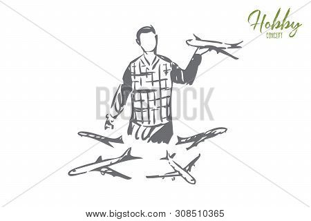 Collecting Concept Sketch. Gatheringplane Models. Man Holding Miniature Aircraft Copy. Playing With