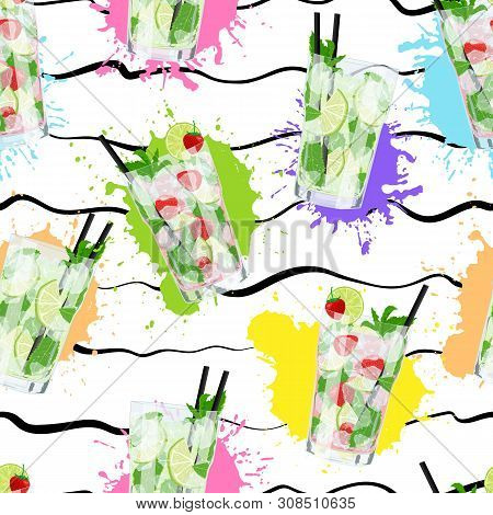 Vector Seamless Pattern With Mojito Cocktails On Colorful Abstract Background. Classic Mojito, Straw