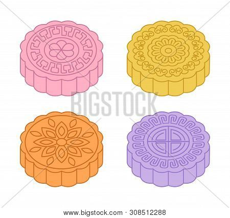 Colorful Mid-autumn Festival Mooncakes Designs. Vector Illustration
