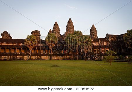 Leaving Angkor Wat at sunset