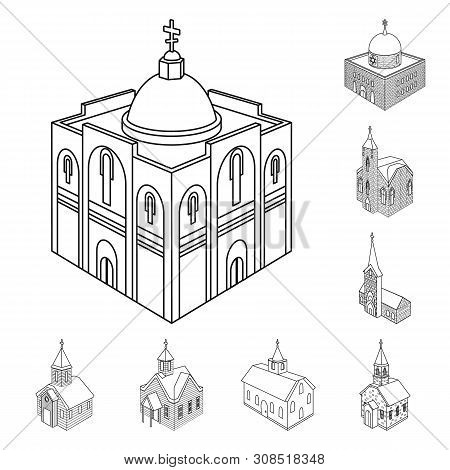 Vector Illustration Of Architecture And Building Symbol. Collection Of Architecture And Clergy Vecto