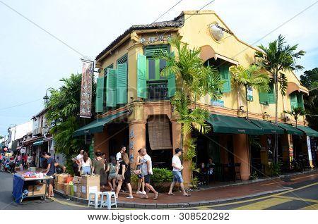 Melaka, Malaysia - 25 Jun, 2019: View Of Famous Geographer Caf Along Jonker Street Malacca.