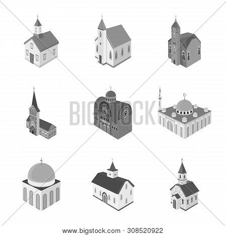 Isolated Object Of Landmark And Clergy Icon. Collection Of Landmark And Religion Stock Symbol For We