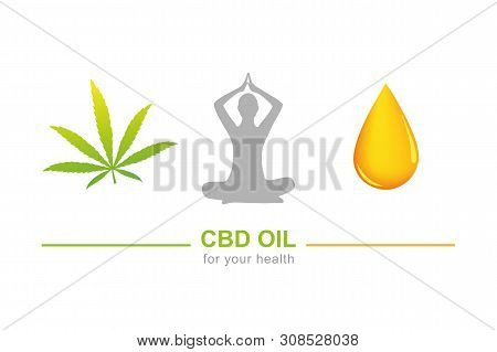 Cbd Oil For Health Concept With Cannabis Leaf Yoga And Oil Drop Vector Illustration Eps10